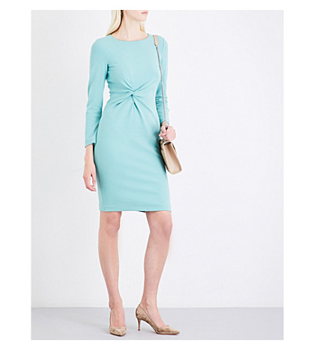 ARMANI COLLEZIONI Knot-detail stretch-jersey dress (Aqua