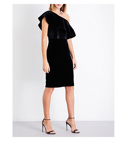 ARMANI COLLEZIONI One-shoulder bead-embellished velvet dress (Black