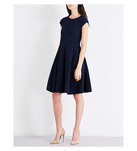 ARMANI COLLEZIONI Textured jersey dress (Blue+navy