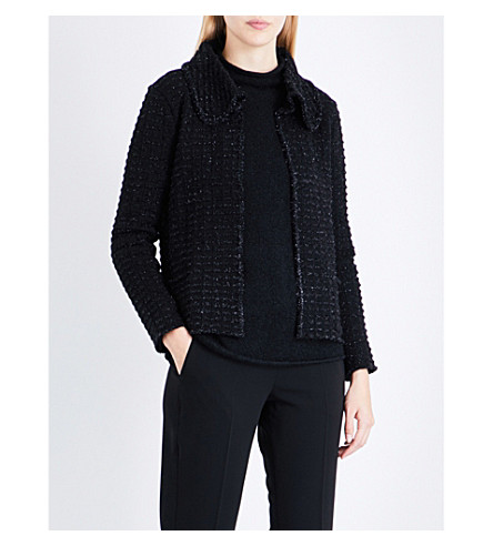 ARMANI COLLEZIONI Textured metallic-knit jacket (Black