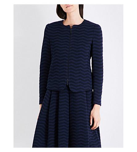 ARMANI COLLEZIONI Textured jersey jacket (Blue+navy