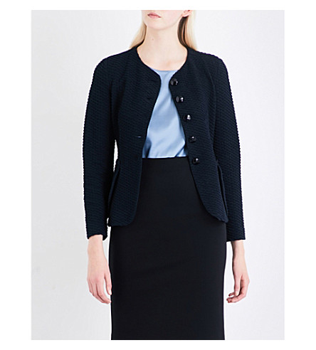 ARMANI COLLEZIONI Wavy single-breasted woven jacket (Navy