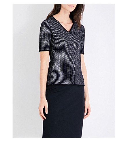 ARMANI COLLEZIONI V-neck square-knit top (Black+ivory
