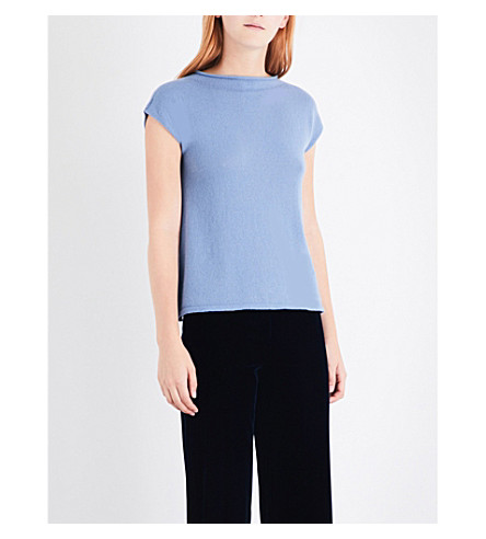ARMANI COLLEZIONI Knitted cashmere top (Light+blue