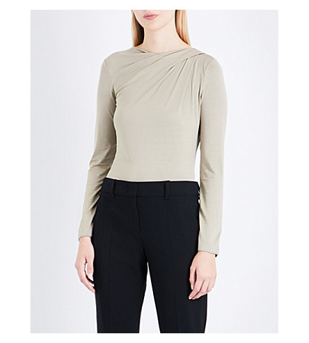 ARMANI COLLEZIONI Ruched-neck jersey top (Gold