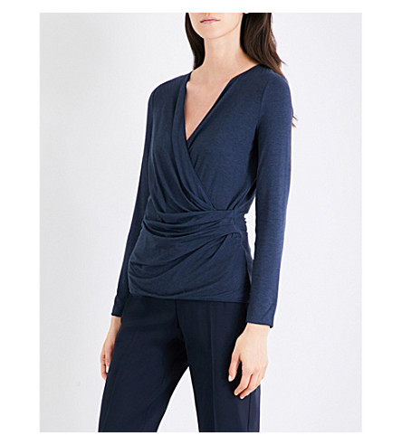 ARMANI COLLEZIONI Wrap-front jersey top (Navy