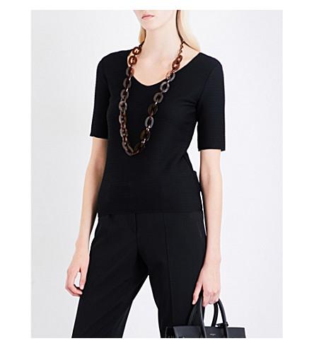 ARMANI COLLEZIONI V-neck stretch-jersey top (Black