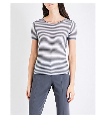 ARMANI COLLEZIONI Striped knitted top (Grey+stripe