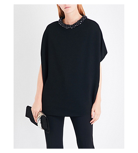 ARMANI COLLEZIONI Jewel-collar ribbed jersey top (Black