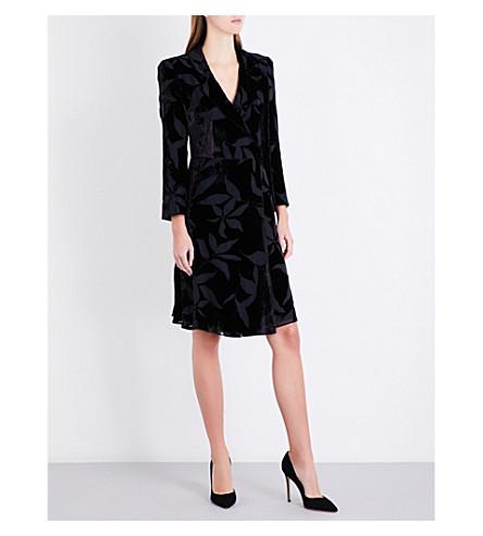 ARMANI COLLEZIONI Floral devoré-pattern velvet wrap dress (Black