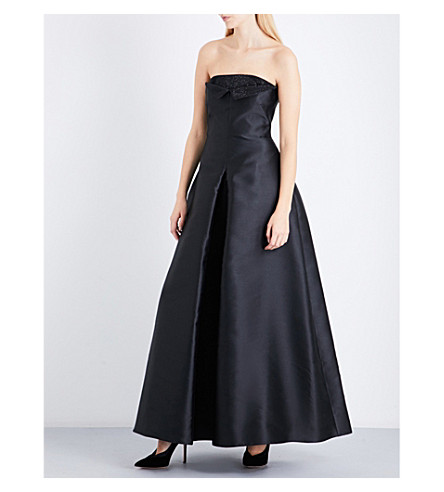 ARMANI COLLEZIONI Bead-embellished off-the-shoulder satin gown (Black