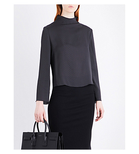 ARMANI COLLEZIONI High-neck silk top (Charcoal