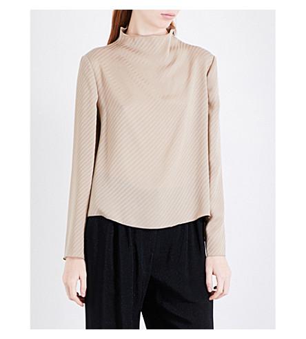 ARMANI COLLEZIONI High-neck silk top (Gold