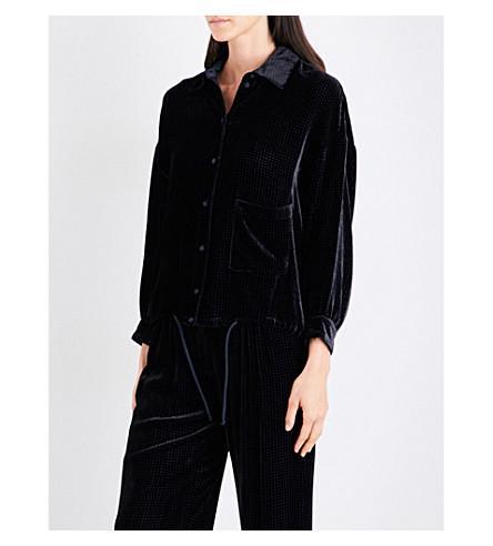 ARMANI COLLEZIONI Oversized velvet shirt (Navy+black