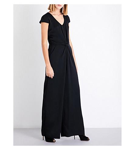 ARMANI COLLEZIONI Knot-waist satin jumpsuit (Black