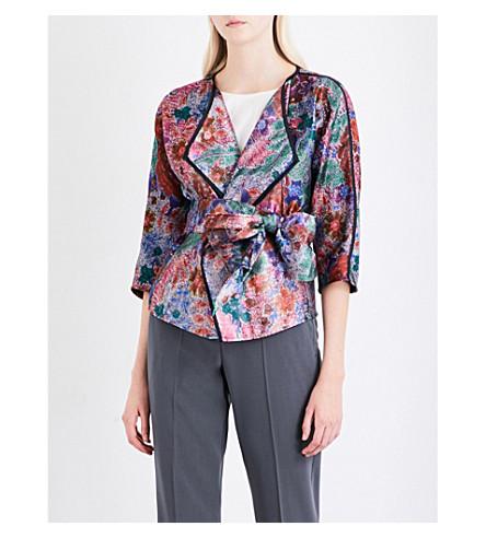 ARMANI COLLEZIONI Wrap floral-jacquard jacket (Multi+floral