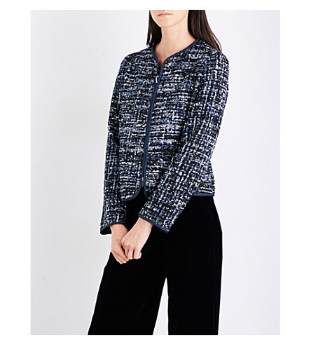 ARMANI COLLEZIONI Collarless metallic-tweed jacket (Blue+silver