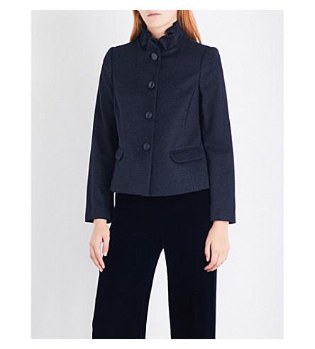 ARMANI COLLEZIONI Frill neck jacket (Blue
