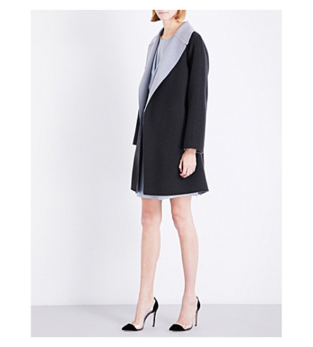 ARMANI COLLEZIONI Relaxed-fit wool and cashmere-blend coat (Light+grey+charcoal