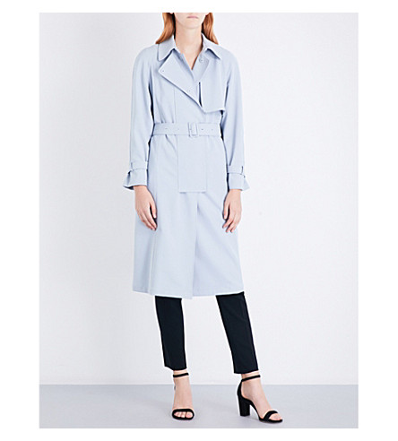 ARMANI COLLEZIONI Belted twill trench coat (Light+blue