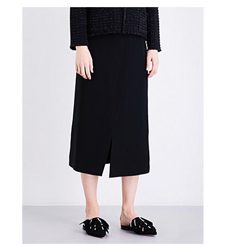 ARMANI COLLEZIONI Wrap-over high-rise cady midi skirt (Black