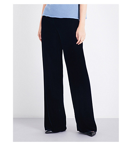 ARMANI COLLEZIONI Flared velvet trousers (Navy