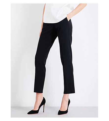 ARMANI COLLEZIONI Straight high-rise cropped wool-blend trousers (Black