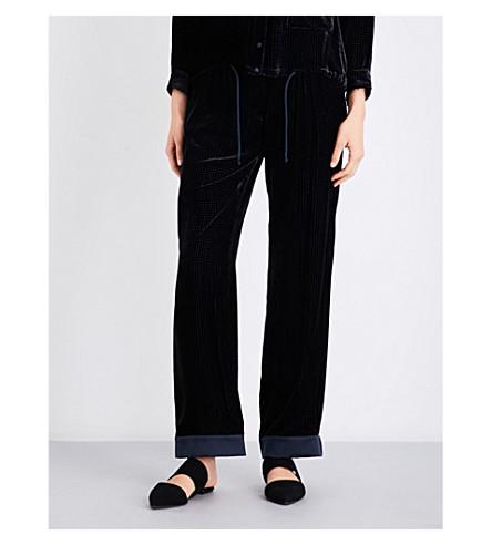 ARMANI COLLEZIONI Wide-leg velvet trousers (Navy+black