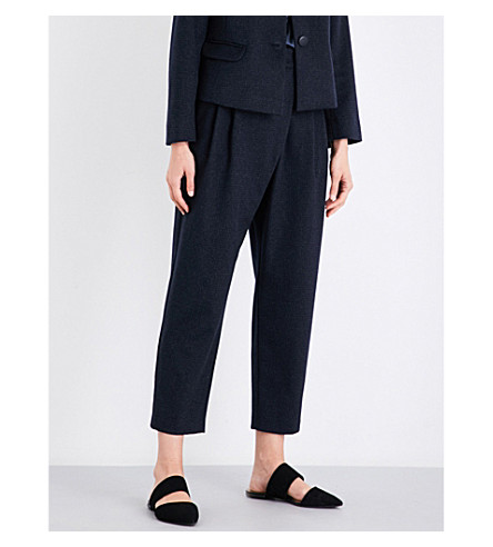 ARMANI COLLEZIONI Straight cropped wool and silk-blend trousers (Blue