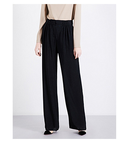 ARMANI COLLEZIONI Wide high-rise metallic-knit trousers (Black