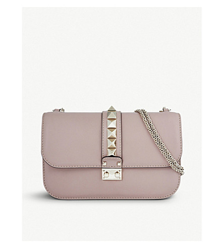 VALENTINO Studded medium leather shoulder bag (Poudre
