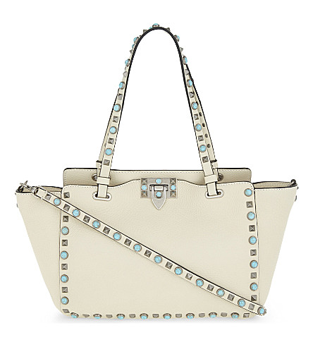 VALENTINO Cabochon small leather tote (Light+ivory
