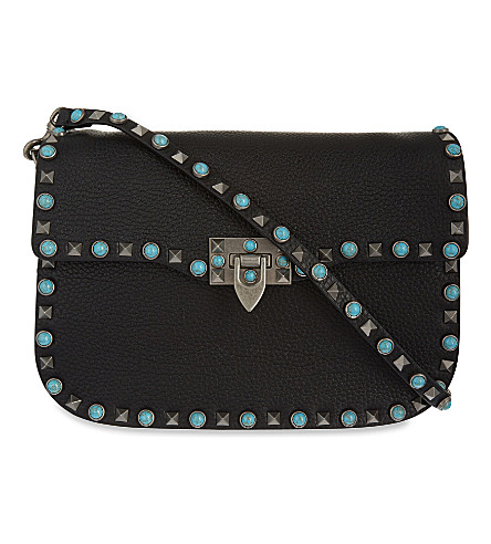 VALENTINO Rockstud grained leather messenger bag (Black