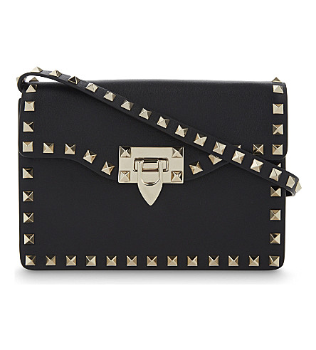 VALENTINO Rockstud mini leather satchel (Black