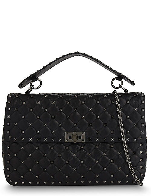 c8d6304cb23a VALENTINO Spike quilted leather large shoulder bag