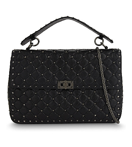 VALENTINO Spike quilted leather large shoulder bag (Black