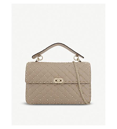 VALENTINO Rockstud large leather shoulder bag (Poudre
