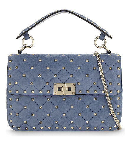 VALENTINO Rockstud medium quilted suede shoulder bag (Bright+blue