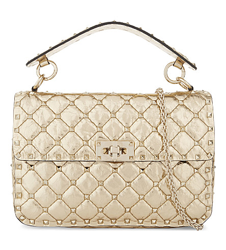 VALENTINO Rockstud medium metallic leather shoulder bag (Gold