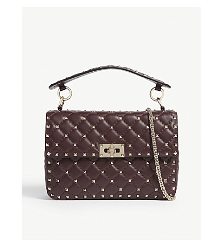 VALENTINO Rockstud medium quilted leather shoulder bag (Rubin+plum