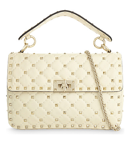 VALENTINO Rockstud medium leather shoulder bag (Ivory