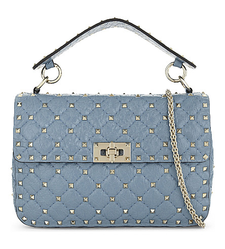 VALENTINO Quilted leather cross-body bag (Grey+sky