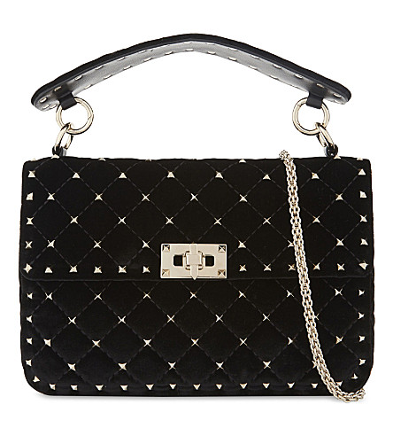 VALENTINO Rockstud medium quilted velvet shoulder bag (Black