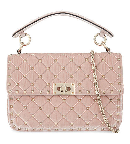 VALENTINO Rockstud medium quilted velvet shoulder bag (Water+rose
