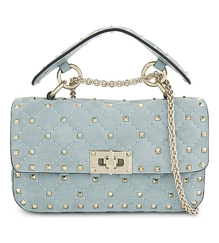 VALENTINO Rockstud mini suede shoulder bag (Nube