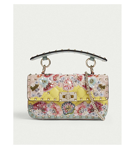 VALENTINO Studded floral leather clutch (Dusty+rose