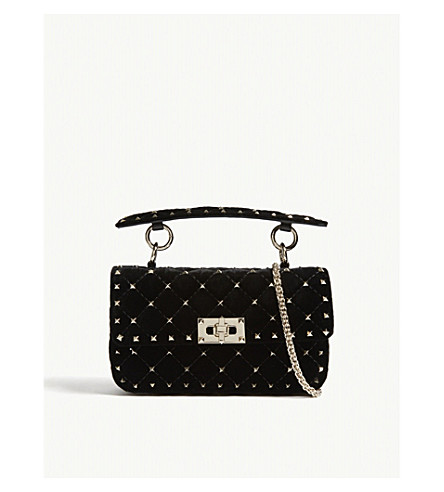 VALENTINO Quilted Spike velvet bag (Black