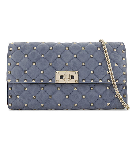 VALENTINO Rockstud quilted suede cross-body bag (Bright+blue