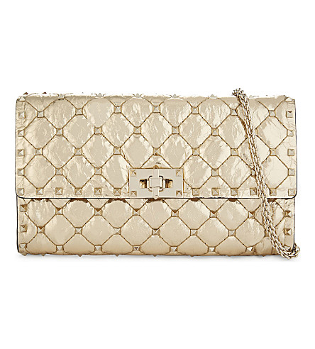 VALENTINO Rockstud quilted leather cross-body bag (Gold