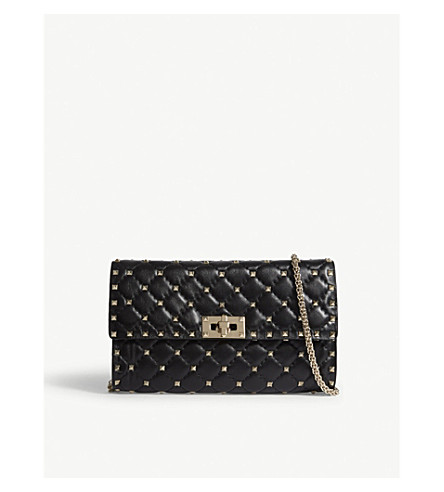 VALENTINO Rockstud quilted leather cross-body bag (Black